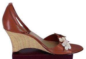 AK Anne Klein Ankle Strap Cream Caramel Wedges