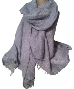 Gap Gap Long Scarf in Light Blue with Metallic Silver Threads