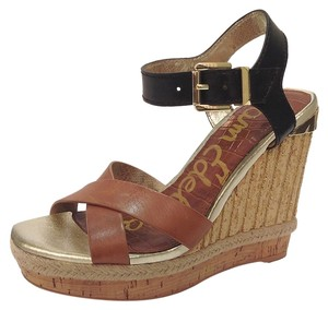 Sam Edelman Wedge Leather Two-tone Brown, Black Wedges