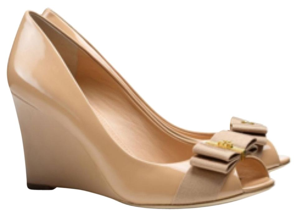 ba57fc65e03 Tory Burch Camellia Pink Trudy 85mm Open Toe Wedges Size US 6.5 ...