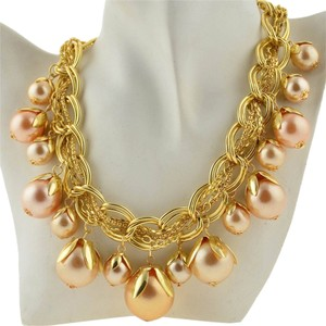 Chunky Faux Pearl Dangle Bib Necklace Gold Tone J1887