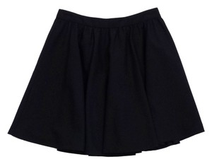 Alice + Olivia Black Wool Flare Mini Mini Skirt