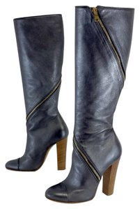 Goldenbleu Metallic Blue Leather Boots