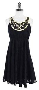 MILLY short dress Black Cream Circle Print Silk on Tradesy