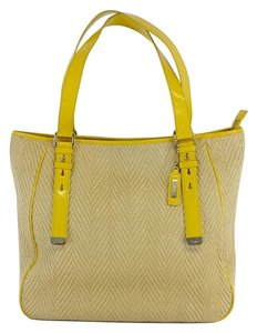 Cole Haan Yellow Woven With Patent Leather Trim Hobo Bag