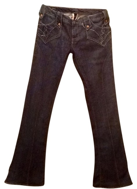 Union 70s 1970s Seventies Bell Bottoms Flare Leg Jeans-Dark Rinse