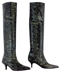 Gucci Dark Green Snakeskin Leather Tall Boots