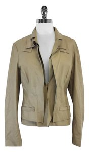 Tahari Taupe Lightweight Leather Leather Jacket