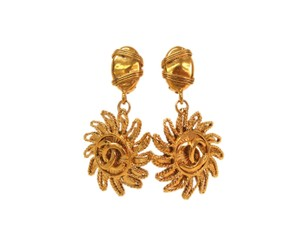 Chanel Auth CHANEL Sun & COCO Clip Earrings Metal Gold (BF089814)