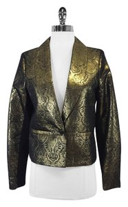 Twelfth St. by Cynthia Vincent Black Gold Metallic Blazer
