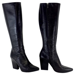 Jil Sander Black Leather Knee High Boots