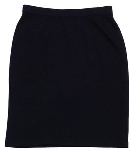 St. John Black Wool Knee Length Skirt