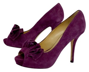 Kate Spade Purple Suede Ruffle Peep Toe Pumps