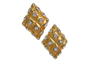Chanel Auth CHANEL Clip Earrings Metal/Rhinestone Gold/Silver (BF095052)
