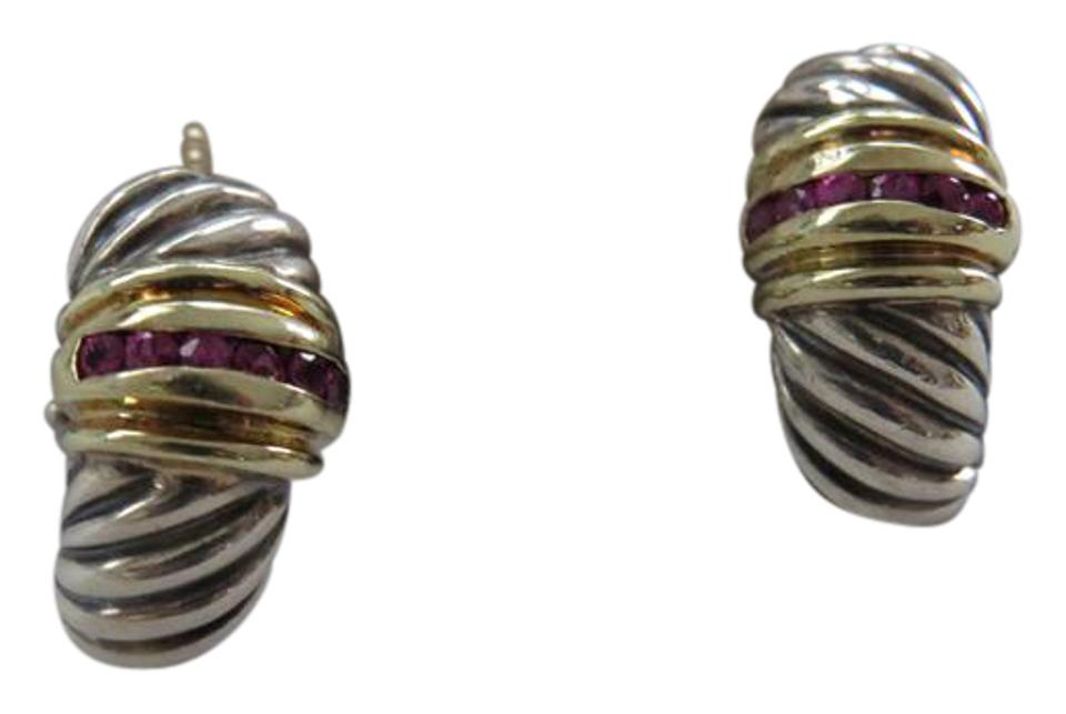 David Yurman Thoroughbred Collection 7mm Ruby Accent Ss 14k