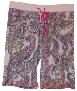 P.J. Salvage Swimsuit Coverup Terrycloth Drawstring Waist Board Shorts Pastel paisley print