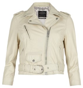 AllSaints Cropped Leather Zippered Cream Leather Jacket