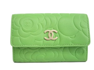 Chanel Auth CHANEL Card Case Camellia Calfskin Lightgreen (BF095063)