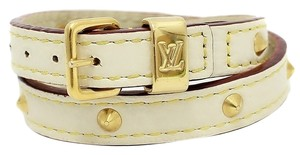 Louis Vuitton Authentic Louis Vuitton White Suhali Leather Studded Double Tour Bracelet