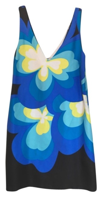 Item - Blue Floral Pampelone Shift Mid-length Night Out Dress Size 2 (XS)