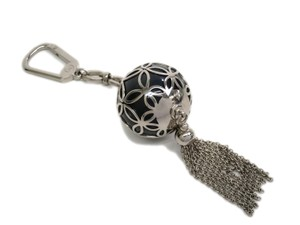 Louis Vuitton Auth LOUIS VUITTON Porte Cles Ice Ball Key Ring Silver/Black M66789 (BF091832)