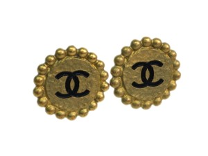Chanel Auth CHANEL COCO Mark Clip Earrings Metal Gold/Black (BF090010)