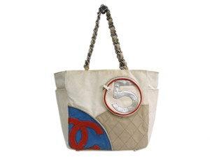 Chanel Tote in Blue / Red / Ivory