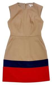 Shoshanna short dress Tan Navy Red Color Block on Tradesy