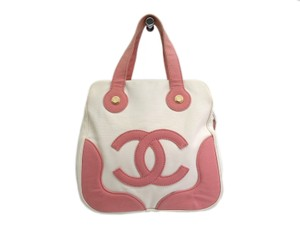 Chanel Satchel in White / Pink