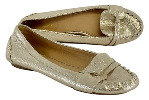 Kate Spade Metallic Gold Spotted Leather Flats