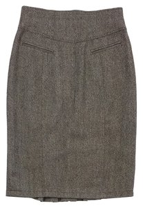Nanette Lepore Brown Wool Mid Length Pencil Skirt