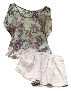 Forever 21 Outfit High Waisted Shorts Nude, Floral