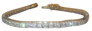 925 Sterling Silver Genuine Briolite Simulated Diamond Ladies Tennis Bracelet 7.5