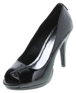 Rampage Gracee Patent Open Toe Black Pumps