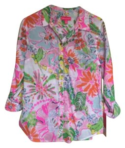 Lilly Pulitzer for Target Button Down Shirt Pink, orange, white
