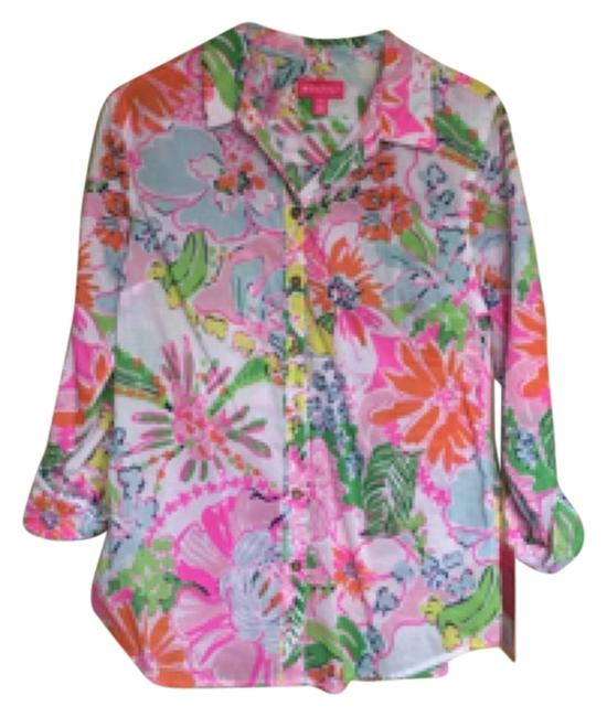 Preload https://item1.tradesy.com/images/lilly-pulitzer-for-target-pink-orange-white-nosey-poise-button-down-top-size-8-m-11285995-0-1.jpg?width=400&height=650