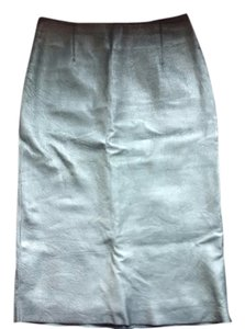BCBGMAXAZRIA Leather Pencil Skirt Metallic Grey