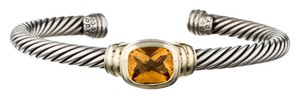 David Yurman Sterling silver 14 K gold David Yurman Classic cable orange citrine cuff bracelet New