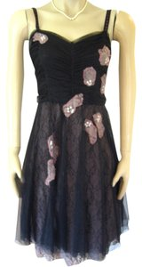 Anthropologie Lace Applique Chiffon Netting Swwetheart Neckline Dress