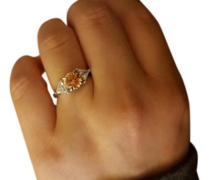 Tangerine stone cocktail ring, size 7