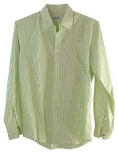 Herms Button Down Shirt White/lime