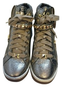 Michael Kors Glam Studded Bronze Metallic Leather High Top Sneakers Sporty Casual Zipper Laced Up Logo Mk Women Ladies Misses Sale Champagne/Gold Athletic