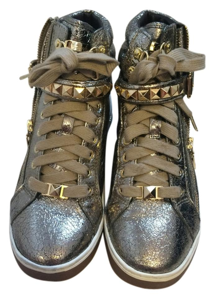 645f441fbee96 Michael Kors Glam Studded Bronze Metallic Leather High Top Sneakers Sports  Sporty Casual Zipper Laced Up ...