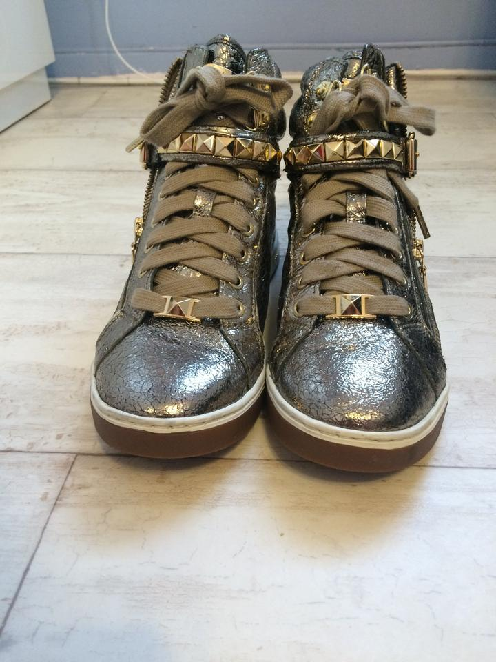 3900cbf1be4b8 Michael Kors Champagne Gold Glam Studded High Top Crinkled Metallic Leather High  Top Sneakers Sneakers Size US 7.5 Regular (M