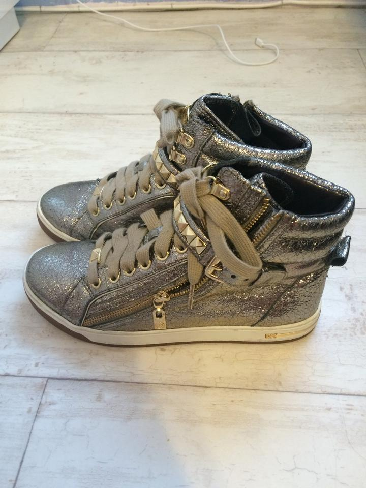 997c32d31d2ca Michael Kors Glam Studded Bronze Metallic Leather High Top Sneakers Sports  Sporty Casual Zipper Laced Up. 1234567891011