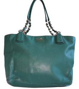 Coach Madison Pebbled Leather Tote in Turqouise
