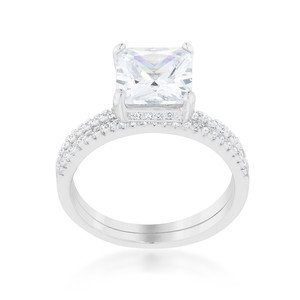 A. A. A. Cubic Princess Cut Solitaire Ring Set