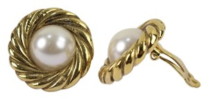 Chanel Chanel Gold Tone Faux Pearl Clip On Earrings CCAV404
