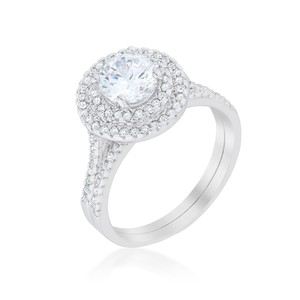 A. A. A. Cubic Pave Round Wedding Ring Set