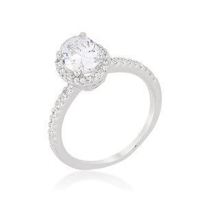 A. A. A. Cubic Oval-cut Floating Haloengagement Ring